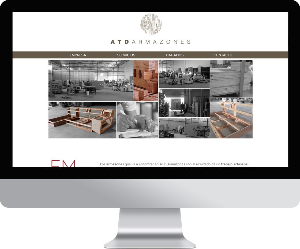 Trabajo web para ATD Armaznes en pantalla grande
