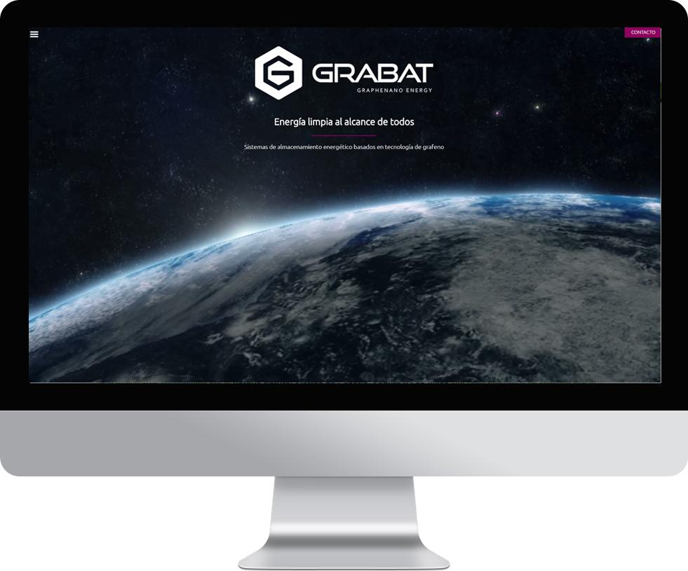 Trabajo web para Grabat Energy en pantalla grande