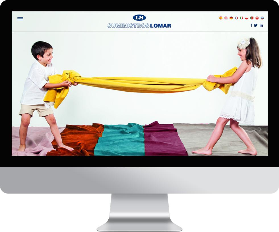 Trabajo web para Suministros Lomar en pantalla grande