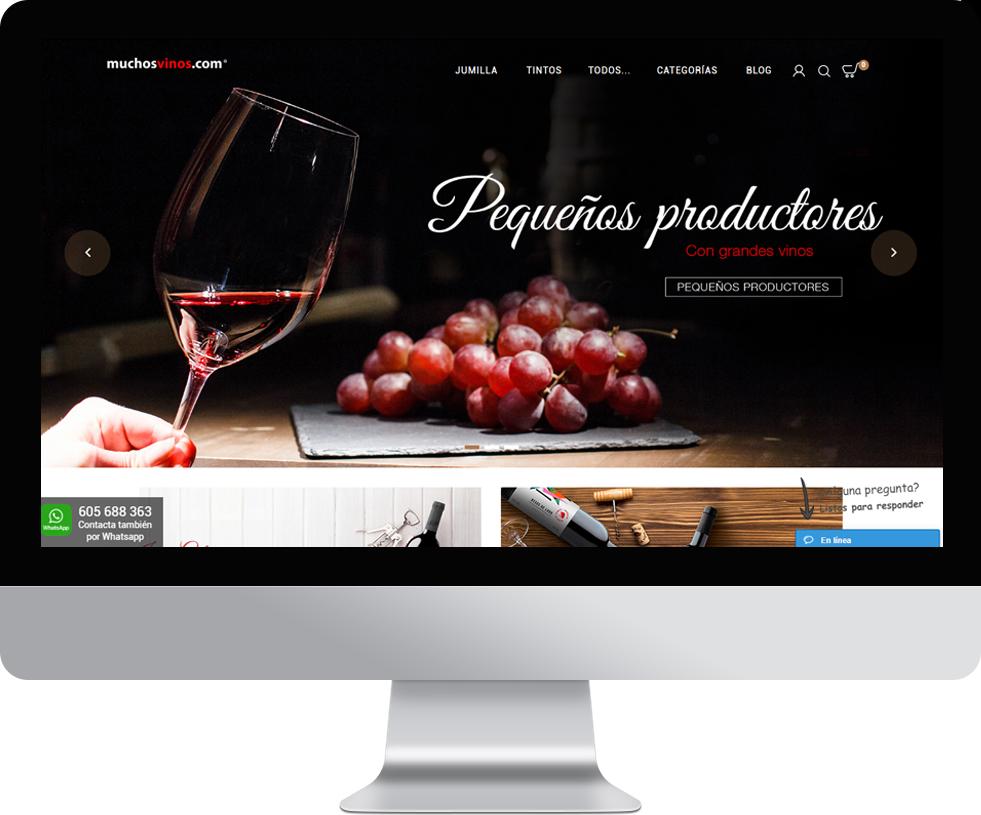 Trabajo web para Muchos Vinos en pantalla grande