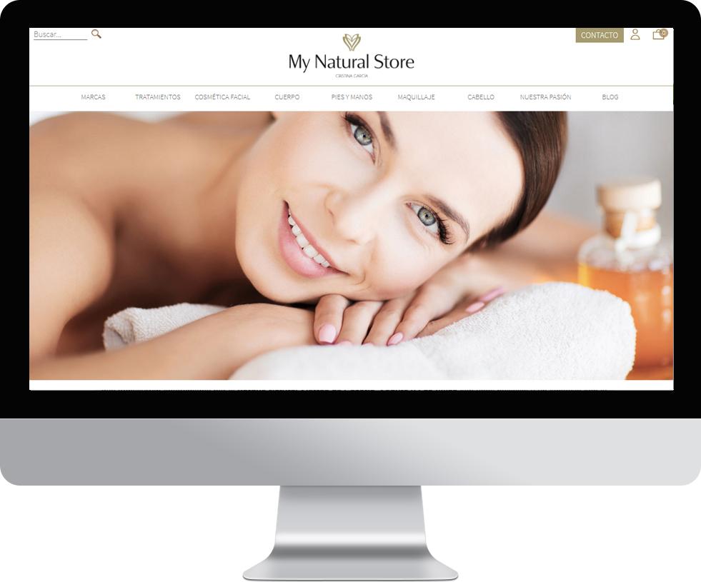 Trabajo web para My Natural Store en pantalla grande