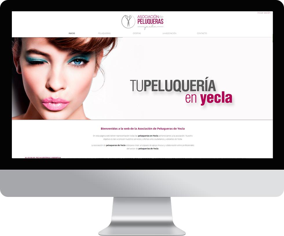 Trabajo web de peluqueria yecla en pantalla grande