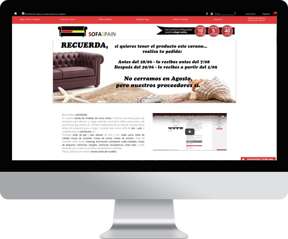 Trabajo web para SofaSpain en pantalla grande