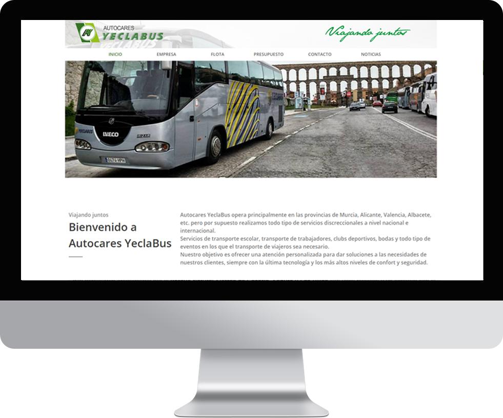 Trabajo web para Autocares YeclaBus en pantalla grande