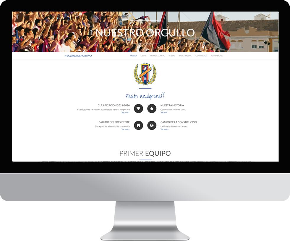 Trabajo web para el Yeclano Deportivo en pantalla grande