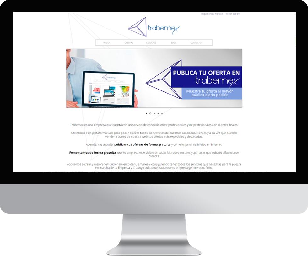 Trabajo web de Trabemex en pantalla grande